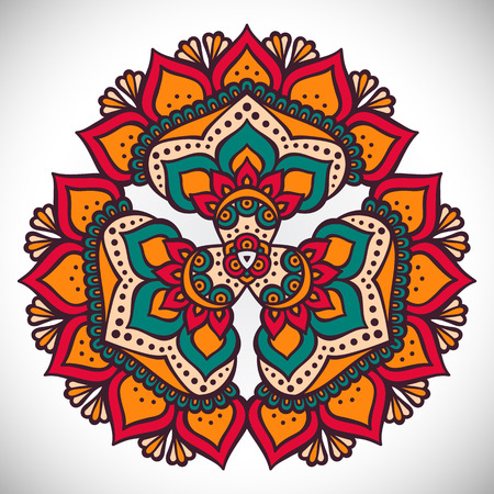 psychedelic background: Ornament beautiful card with mandala. Geometric circle element