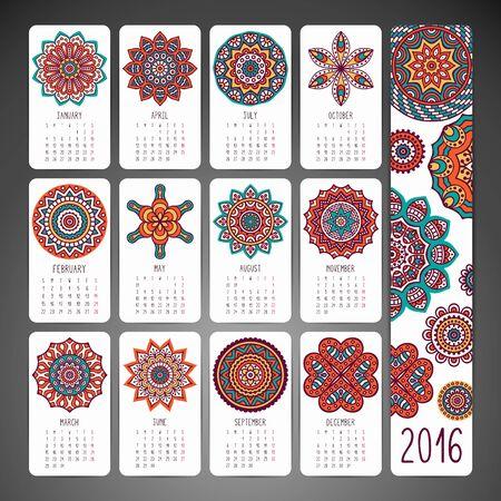 arabic woman: Calendar with mandalas. Hand drawn ethnic elements