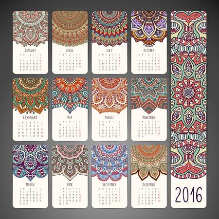 mandala: Calendar with mandalas. Hand drawn ethnic elements