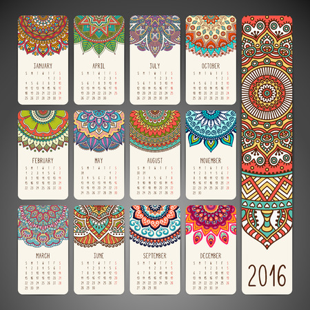 calendar: Calendar with mandalas. Hand drawn ethnic elements