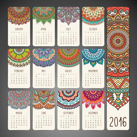 kalendarz: Kalendarz z mandali. Ręcznie rysowane elementy etniczne