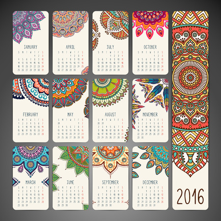 Calendar with mandalas. Hand drawn ethnic elements