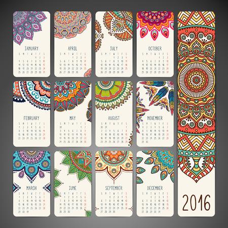 indische muster: Kalender mit Mandalas. Hand gezeichnet ethnischen Elementen Illustration