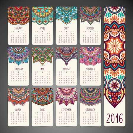 calendario: Calendario con mandalas. Elementos étnicos drenados mano