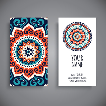 islam: Business card. Vintage decorative elements. Hand drawn background Illustration