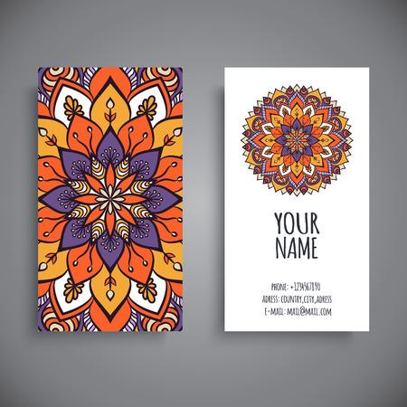 Business card. Vintage decorative elements. Hand drawn background Vettoriali