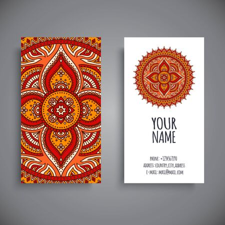 indian old man: Business card. Vintage decorative elements. Hand drawn background Illustration
