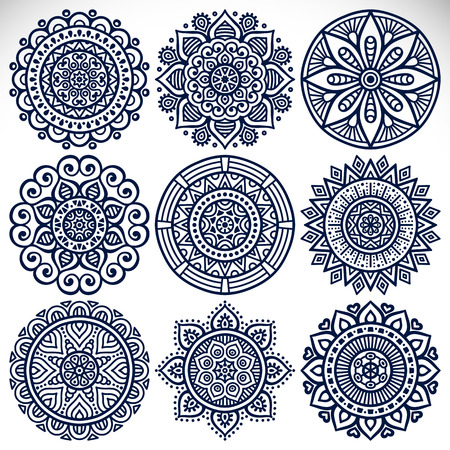 indian tattoo: Ornament beautiful  card with mandala. Geometric circle element made in vector