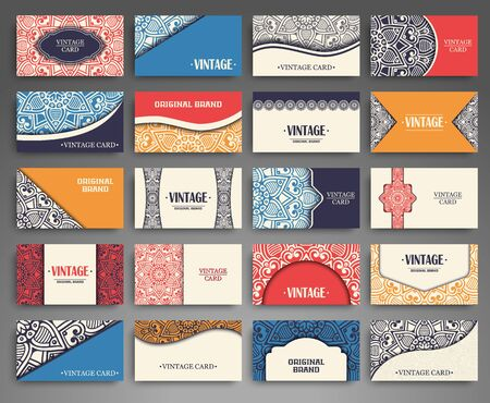 motif floral: Business card. Vintage decorative elements. Hand drawn background Illustration