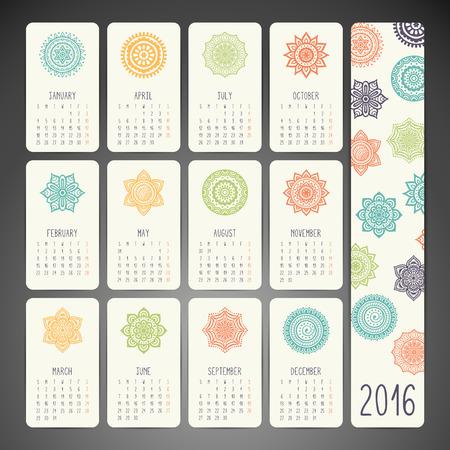 calendario: Calendario de la vendimia. Patrón de ornamento redondo. Elementos decorativos vintage