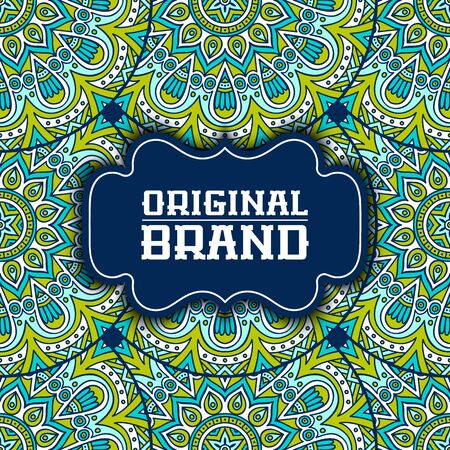 henna background: Ethnic floral card. Abstract ornamental pattern Illustration