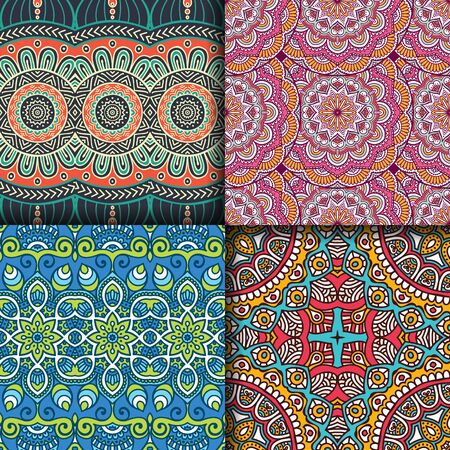 vintage lace: Ethnic floral seamless pattern. Abstract ornamental pattern Illustration