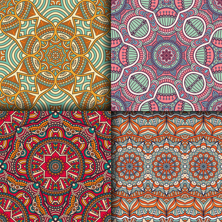 vintage ornament: Ethnic floral seamless pattern. Abstract ornamental pattern Illustration