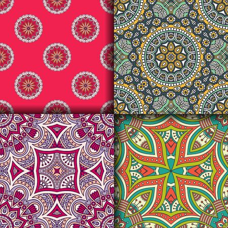 decorative element: Ethnic floral seamless pattern. Abstract ornamental pattern Illustration