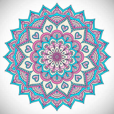 marcos redondos: Ornamento tarjeta hermosa con la mandala. Elemento círculo geométrico hecho en vector Vectores