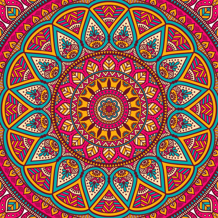 Ornamento tarjeta hermosa con la mandala. Elemento círculo geométrico hecho en vector Foto de archivo - 45101196