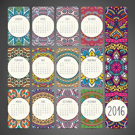 mandalas: Calendar with mandalas. Hand draw ethnic pattern Illustration