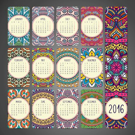 motif floral: Calendar with mandalas. Hand draw ethnic pattern Illustration