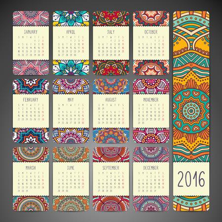 calendar design: Calendar with mandalas. Hand draw ethnic pattern Illustration
