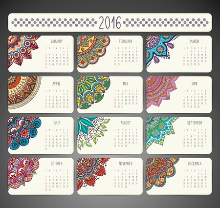 Calendar with mandalas. Hand draw ethnic pattern Vectores