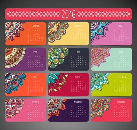 flower shape: Calendar with mandalas. Hand draw ethnic pattern Illustration