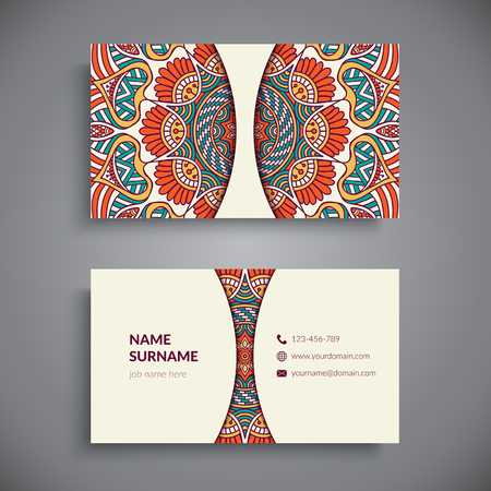 arabic motif: Business card. Vintage decorative elements. Hand drawn background Illustration