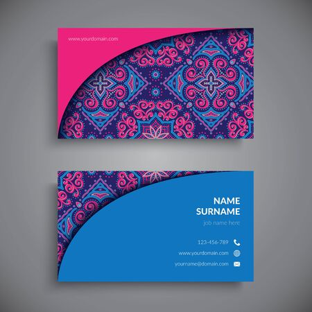 motif pattern: Business card. Vintage decorative elements. Hand drawn background Illustration