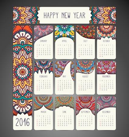 曼荼羅カレンダー。手描民族パターン  イラスト・ベクター素材