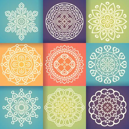 arabesco: Ornamento tarjeta hermosa con la mandala. Elemento círculo geométrico hecho en vector Vectores