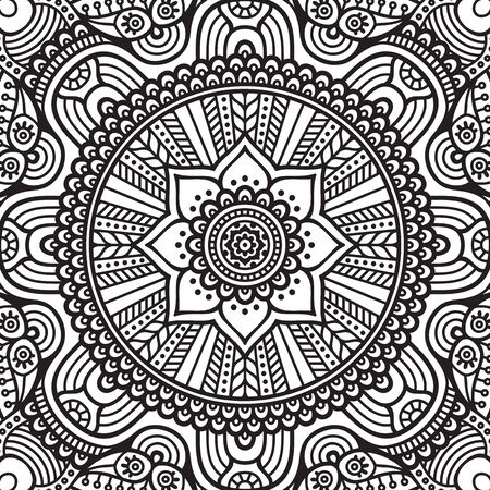border silhouette: Ornament beautiful  card with mandala. Geometric circle element made in vector