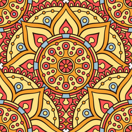 fabric art: Ethnic floral seamless pattern. Abstract ornamental pattern Illustration