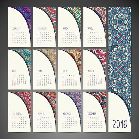calendar design: Vintage decorative elements. Ornamental floral business cards