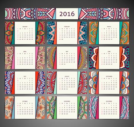 calendario: Elementos decorativos vintage. Ornamentales tarjetas de visita florales Vectores