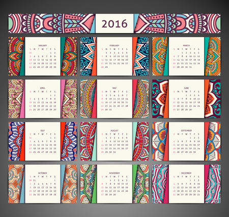 calendar: Vintage �l�ments d�coratifs. Ornement floral cartes de visite