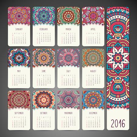a calendar: Vintage decorative elements. Ornamental floral business cards