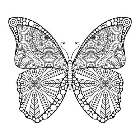 Hand Gezeichnet Stammes-Fliegen-Schmetterling Für Erwachsene Anti ...