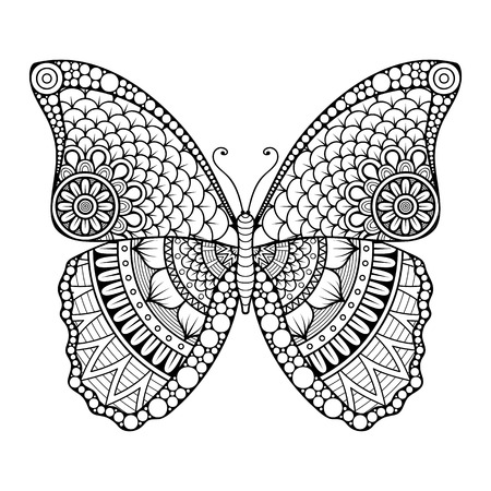 papillon dessin: Ornement belle carte avec le papillon. �l�ment g�om�trique faite dans le vecteur Illustration