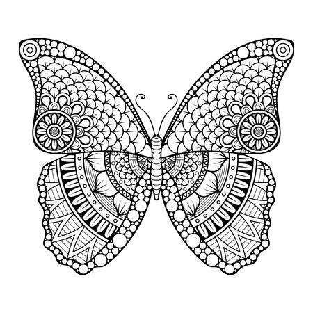 papillon: Ornement belle carte avec le papillon. �l�ment g�om�trique faite dans le vecteur Illustration