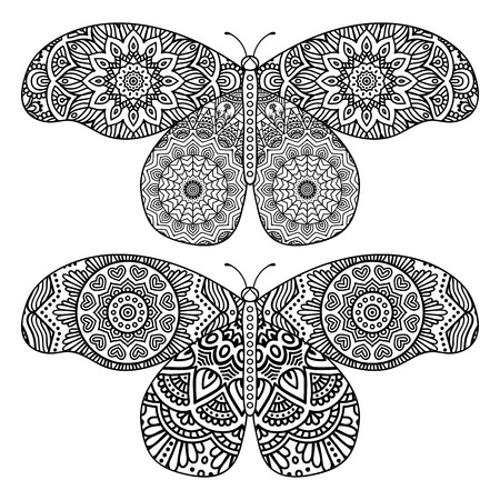 butterfly flower: Ornament beautiful  card with Butterfly. Geometric element made in vector Illustration