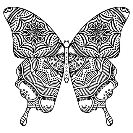 mandala: Ornament beautiful  card with Butterfly. Geometric element made in vector Illustration