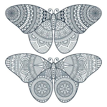 oriental: Ornament beautiful  card with Butterfly. Geometric element made in vector Illustration