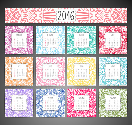 design pattern: Calendar 2016. Vintage decorative elements. Ornamental floral business cards, oriental pattern, vector illustration. Illustration