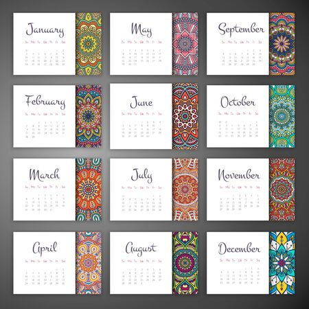 arabic motif: Calendar 2016. Vintage decorative elements. Ornamental floral business cards, oriental pattern, vector illustration. Illustration