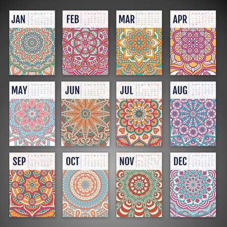 flower designs: Calendar 2016. Vintage decorative elements. Ornamental floral business cards, oriental pattern, vector illustration. Illustration