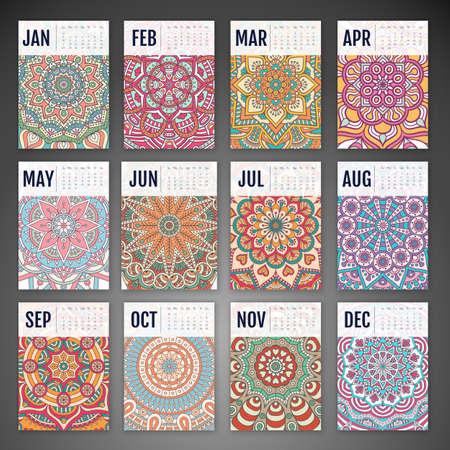 flower patterns: Calendario 2016. elementos decorativos vintage. Tarjetas ornamentales florales de negocios, modelo oriental, ilustraci�n vectorial. Vectores