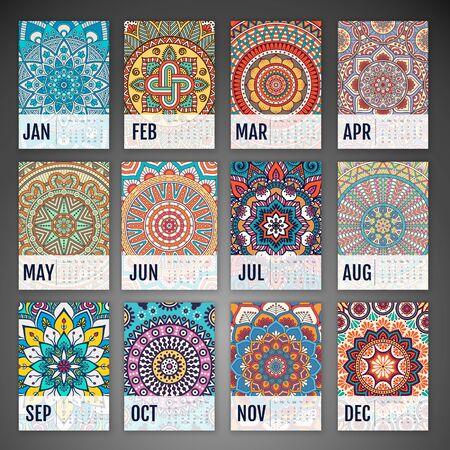 marcos decorativos: Calendario 2016. elementos decorativos vintage. Tarjetas ornamentales florales de negocios, modelo oriental, ilustración vectorial. Vectores