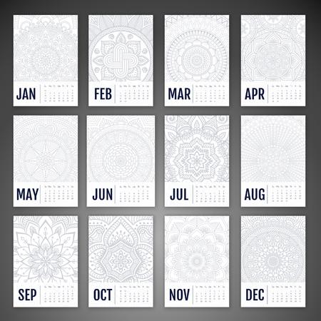 calendrier: Calendrier 2016. éléments décoratifs Vintage. Ornement floral cartes de visite, motif oriental, illustration vectorielle. Banque d'images