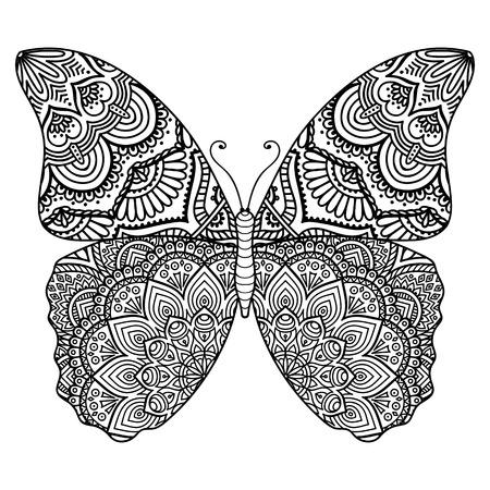 mariposa: Ornamento tarjeta hermosa con la mariposa. Elemento geométrico hecho en vector Foto de archivo