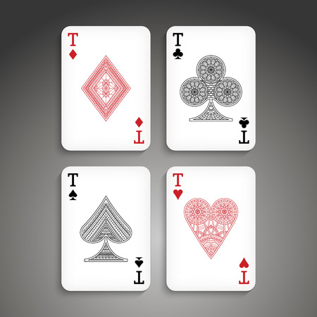 cards poker: Poker set with isolated cards in ethnic style