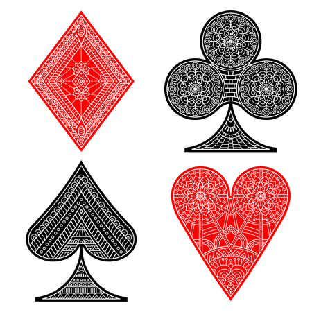 ace of spades: Poker set with isolated cards in ethnic style